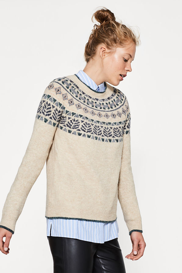 Esprit jacquard trui met wol